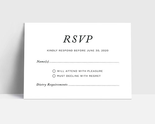 Personalised wedding RSVP card