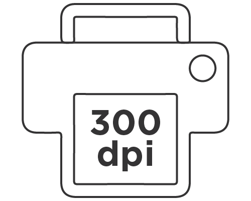 300 dpi resolution is ideal for printing